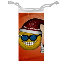 Funny Christmas Smiley With Sunglasses Jewelry Bags by FantasyWorld7