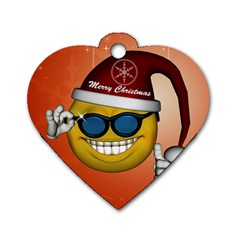 Funny Christmas Smiley With Sunglasses Dog Tag Heart (one Side) by FantasyWorld7
