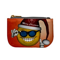 Funny Christmas Smiley With Sunglasses Mini Coin Purses