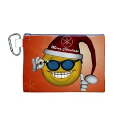 Funny Christmas Smiley With Sunglasses Canvas Cosmetic Bag (m) by FantasyWorld7