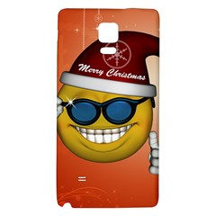 Funny Christmas Smiley With Sunglasses Galaxy Note 4 Back Case by FantasyWorld7