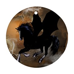 Awesome Dark Unicorn With Clouds Ornament (round)