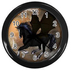 Awesome Dark Unicorn With Clouds Wall Clocks (black) by FantasyWorld7