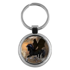 Awesome Dark Unicorn With Clouds Key Chains (round)  by FantasyWorld7