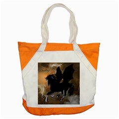 Awesome Dark Unicorn With Clouds Accent Tote Bag  by FantasyWorld7