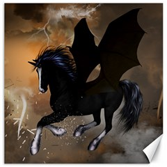 Awesome Dark Unicorn With Clouds Canvas 12  X 12   by FantasyWorld7
