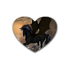 Awesome Dark Unicorn With Clouds Rubber Coaster (heart)  by FantasyWorld7