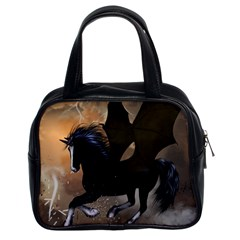Awesome Dark Unicorn With Clouds Classic Handbags (2 Sides) by FantasyWorld7