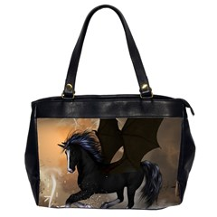 Awesome Dark Unicorn With Clouds Office Handbags (2 Sides)  by FantasyWorld7