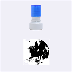 Awesome Dark Unicorn With Clouds Rubber Round Stamps (small)