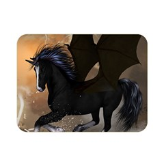 Awesome Dark Unicorn With Clouds Double Sided Flano Blanket (mini)  by FantasyWorld7
