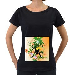Cute Toucan With Palm And Flowers Women s Loose-Fit T-Shirt (Black) by FantasyWorld7