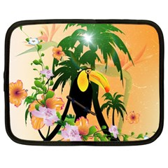 Cute Toucan With Palm And Flowers Netbook Case (XL)