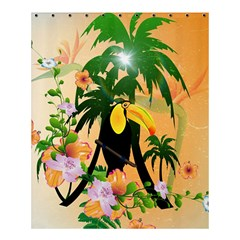 Cute Toucan With Palm And Flowers Shower Curtain 60  X 72  (medium)  by FantasyWorld7