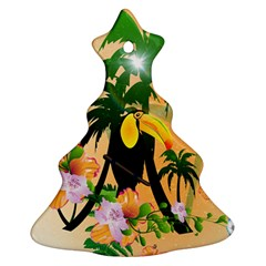Cute Toucan With Palm And Flowers Ornament (christmas Tree) by FantasyWorld7