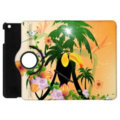Cute Toucan With Palm And Flowers Apple Ipad Mini Flip 360 Case by FantasyWorld7