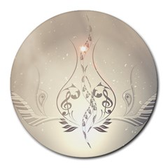 Music, Piano With Clef On Soft Background Round Mousepads by FantasyWorld7