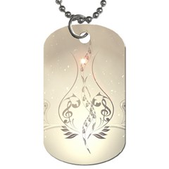 Music, Piano With Clef On Soft Background Dog Tag (two Sides) by FantasyWorld7