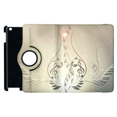 Music, Piano With Clef On Soft Background Apple Ipad 3/4 Flip 360 Case by FantasyWorld7