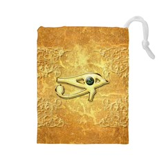 The All Seeing Eye With Eye Made Of Diamond Drawstring Pouches (large)  by FantasyWorld7