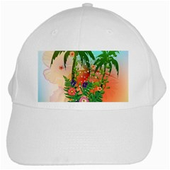 Tropical Design With Palm And Flowers White Cap