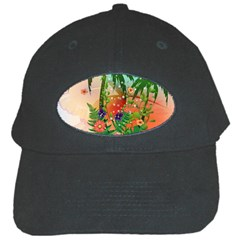 Tropical Design With Palm And Flowers Black Cap by FantasyWorld7