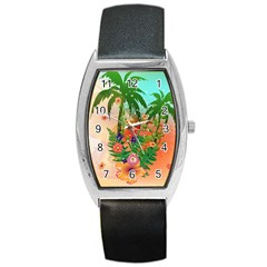 Tropical Design With Palm And Flowers Barrel Metal Watches by FantasyWorld7