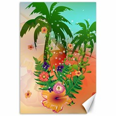 Tropical Design With Palm And Flowers Canvas 12  X 18
