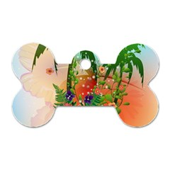 Tropical Design With Palm And Flowers Dog Tag Bone (two Sides) by FantasyWorld7