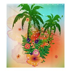 Tropical Design With Palm And Flowers Shower Curtain 66  X 72  (large)