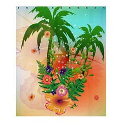 Tropical Design With Palm And Flowers Shower Curtain 60  x 72  (Medium)  by FantasyWorld7
