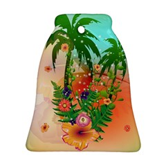 Tropical Design With Palm And Flowers Ornament (bell)  by FantasyWorld7