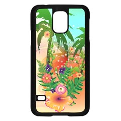 Tropical Design With Palm And Flowers Samsung Galaxy S5 Case (black)