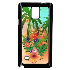 Tropical Design With Palm And Flowers Samsung Galaxy Note 4 Case (black) by FantasyWorld7
