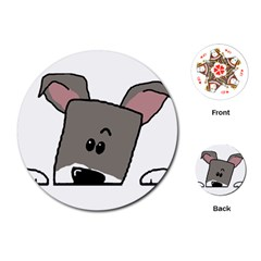 Peeping Miniature Schnauzer Playing Cards (Round)