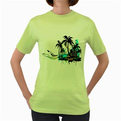 Surfing Women s Green T Shirt by EnjoymentArt