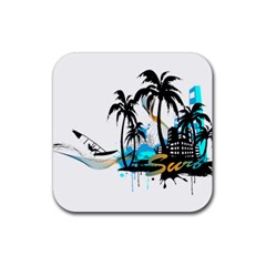 Surfing Rubber Square Coaster (4 Pack)  by EnjoymentArt
