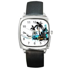 Surfing Square Metal Watches by EnjoymentArt