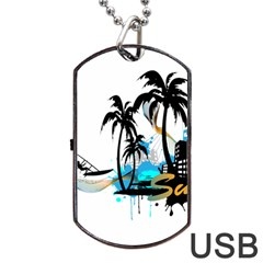 Surfing Dog Tag Usb Flash (one Side) by EnjoymentArt