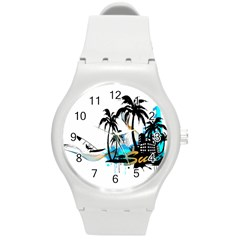 Surfing Round Plastic Sport Watch (m) by EnjoymentArt