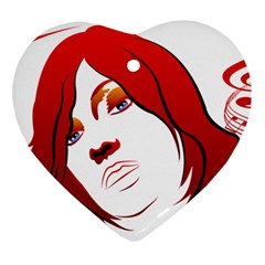 Women Face With Clef Heart Ornament (2 Sides) by EnjoymentArt