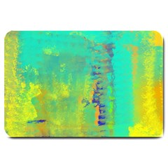 Abstract In Turquoise, Gold, And Copper Large Doormat  by theunrulyartist
