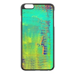 Abstract In Turquoise, Gold, And Copper Apple Iphone 6 Plus/6s Plus Black Enamel Case