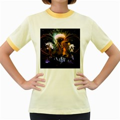 Wonderful Horses In The Universe Women s Fitted Ringer T-Shirts by FantasyWorld7