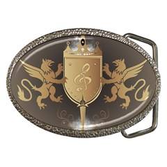Music, Clef On A Shield With Liions And Water Splash Belt Buckles by FantasyWorld7