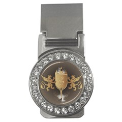 Music, Clef On A Shield With Liions And Water Splash Money Clips (CZ)  by FantasyWorld7