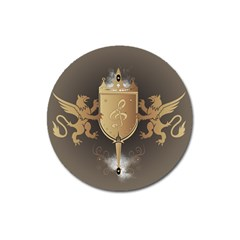 Music, Clef On A Shield With Liions And Water Splash Magnet 3  (round) by FantasyWorld7