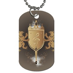 Music, Clef On A Shield With Liions And Water Splash Dog Tag (two Sides) by FantasyWorld7