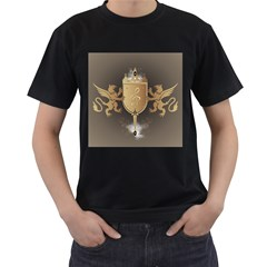Music, Clef On A Shield With Liions And Water Splash Men s T Shirt (black) (two Sided) by FantasyWorld7