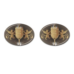 Music, Clef On A Shield With Liions And Water Splash Cufflinks (oval) by FantasyWorld7